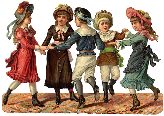 free vintage image download_dancing victorian children